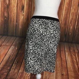 Ann Taylor White Black Leopard Twill Pencil Skirt